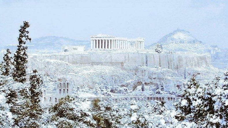 Grèce en neige